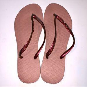 Havaianas Rose Metallic Flip Flops, Sz 11